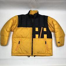 "Vintage 90's Helly Hansen ""HH"" Down Puffer Jacket Ski Yellow Men's XL Rap Style"