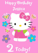Hello Kitty Pink Personalised Birthday Card - Add your own name & age