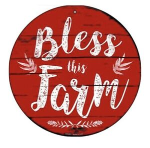 "Red Bless this Farm Woodgrain rustic 12"" Circle Funny Metal Sign Wall Art"