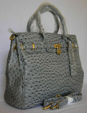 (V56) NEW GORGEOUS LARGE GRAY OSTRICH BAG HANDBAG PURSE TOTE