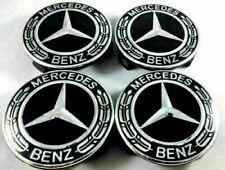 4x Mercedes Benz Alloy Wheel Centre Caps 75mm Badges Blk Hub Emblem - Fits All