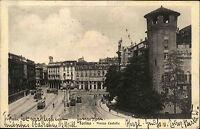 Torino Turin Italien s/w Postkarte ~1920/30 gelaufen Piazza Castello Straßenbahn