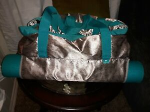Lotus Deluxe Yoga Mat Tote Carrying bag gray shiny teal strap