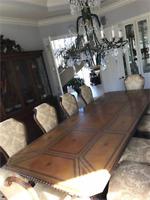 LUXURY Bernadette Livingston Leather Dining Table & Century Ten Chair Set $16k