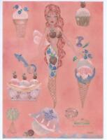 MERMAID FAIRY ICE CREAM CONE SUNDAE SHOP CONE DOLPHIN NAUTICAL HAND SIGNED PRINT