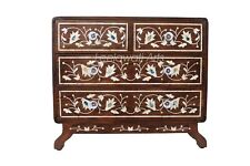 Handmade Mother Of Pearl Inlay Floral Design Chest Of 4 Drawer