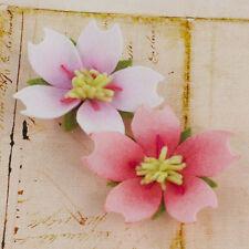 ABBELLIMENTI DECORAZIONI ORNAMENTI PER SCRAPBOOKING FIORI in feltro stoffa rosa