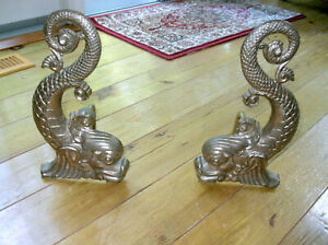 19TH CENTURY BRADLEY AND HUBBARD  BRASS  CLASSICAL DOLPHIN ANDIRONS