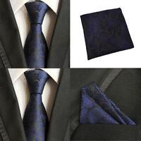 Men Black Blue Paisley Necktie Pocket Square Handkerchief Hanky Set Lot HZTIE067