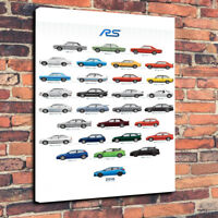 "The Ford RS Range Wall Art Printed Canvas Picture A1.30""x20"" 30mm Deep Man Cave"