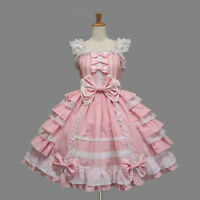 Women's Lolita Sweet Sleeveless Swing Cosplay Gothic Lace Layered Costume Dress