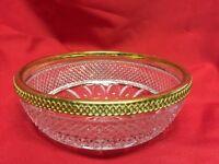 """Vintage Cut Glass Metal-rimmed Bowl 8 1/2"""""""