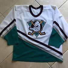Rare Vintage 90s CCM NHL Anaheim Mighty Ducks Hockey Jersey Size Large VTG SEWN