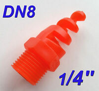 "5 pcs New 1/4"" DN8 Polypropylene PP Spiral Cone Spray Nozzle 1/4 "" BSPT 0.25"""