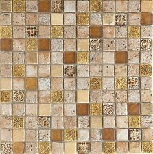 Imperium Gold    12 x 12 Spanish glass mosaic tile for Backsplash or shower