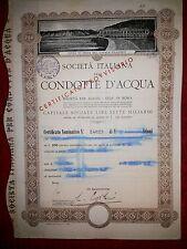 SOCIETA' ITALIANA CONDOTTE D'ACQUA  Certificato provvisorio da 10 Azioni 1965