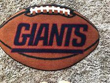"New York Giants Football Shaped Floor Mat Rug EUC 32"" x 21"""