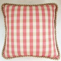 Throw Pillows Vintage Check Coral Red Cream - Custom Accent - A Pair