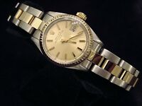 Rolex Date Ladies 2Tone 14K Yellow Gold & Steel Watch Oyster Champagne Dial 6917