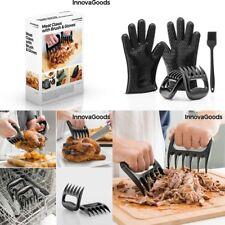 2 garras de cocina para carne+guantes silicona de barbacoa+pincel silicona 20 cm