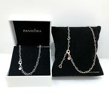 NEW Authentic PANDORA Rose Gold, Silver Joined Hearts Chain Necklace 387961+
