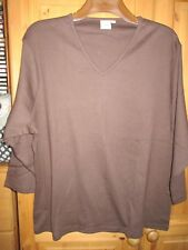 Cotton Trader Deep Brown 100% Cotton V Neck T-Shirt Size 24 BNWOT