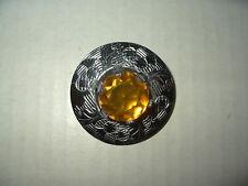Vintage Silvertone & Topaz Crystal Signed MIZPAH Scotland Celtic Kilt Brooch Pin