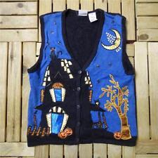 Vintage Novelty Retro HALLOWEEN Waistcoat Jumper Fancy Dress Bad Taste M #D1651