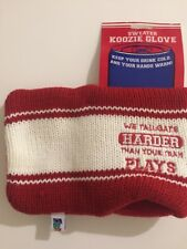 """Knit Beer Mug Koozie """"WE TAILGATE HARDER THAN YOUR TRAM PLAYS"""" ~NEW"""