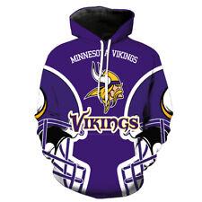 Sudaderas con capucha con fútbol de Minnesota Vikings con Capucha Abrigo Chaqueta Suéter Ventiladores