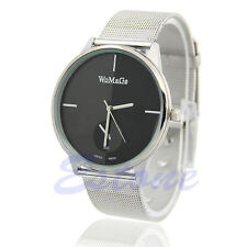 New Fashion Classic Women's Men Quartz Analog Stainless Steel Silver Wrist Watch