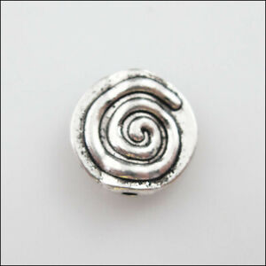 25 New Charms Tibetan Silver Tone Rotating Round Flat Spacer Beads 12mm
