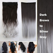 100% Natural Women 3/4 Full Head Clip In Hair Extension Real Thick as human g54