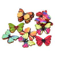 50Pcs Butterfly 2 Holes Wooden Buttons Scrapbooking DIY Craft Wedding Decorat dr