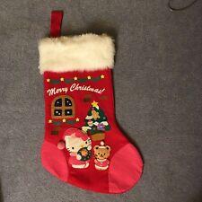 Hello Kitty Christmas Stocking Large Felt Applique White Fur
