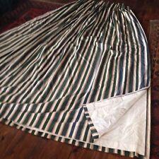 "Vintage 1983 Laura Ashley thick cotton curtains green cream stripe 87""L 128""W gc"