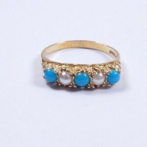 Turquoise and Pearl 9 carat yellow gold ring carved setting