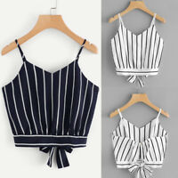 Summer Womens Self Tie Back V Neck Striped Crop Cami Tank Tops Camisole Blouse