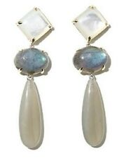 Emily-Ashley 10K Gold & SS Moonstone Mother-of-Pearl Convertible Dangle Earrings