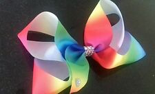 Large Rainbow bow clip .Girls hair accessories rhinestones Multi coloured. Dance