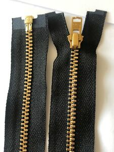 NO#3,BLACK TAPE,BRASS GOLD METAL TOOTHED ZIP,36 INCHES/91 CM LONG,YKK,OPEN ENDED
