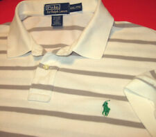 Ralph Lauren Designer Polo Golf Shirt (Xl) Sewn Pony Logo White w/ Gray Stripes