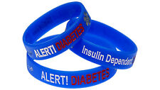 Insulin Dependent Diabetes 3 Pack Silicone Wristband Medical Alert ID Bracelet