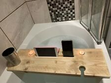 Rustic Handmade Wooden bath board Caddy Tablet Holder Glass & Candle Holder