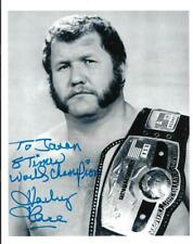 "Harley Race autographed 8x11 b&w NWA champ photo signed WWF ""scratch n dent"""