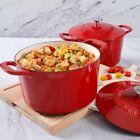 Dutch Oven Enamel Cast Iron 4 Qt & 7 Qt Cooking Pot w/ Lids 4 Piece Cookware Set