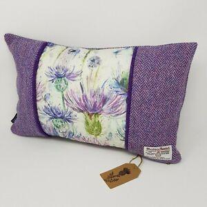 Purple HARRIS TWEED Thistles herringbone unique handmade bolster style Cushion