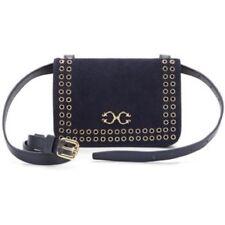 C Wonder Pebble Leather Suede Grommet Belt Bag Navy