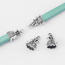 8Pcs Antique Silver Dragon Head End Caps Clasp Connector Fit 12*7mm Leather Cord