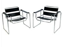 Mid Century Modern Pair Of Wassily Style Lounge Chairs